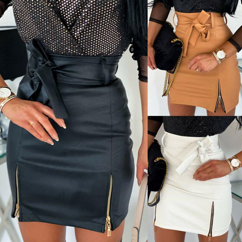 Women High Waist PU Leather Mini Skirt A-Line Bow Drawstring Bodycon Pencil Short Zipper Fashion Skirts