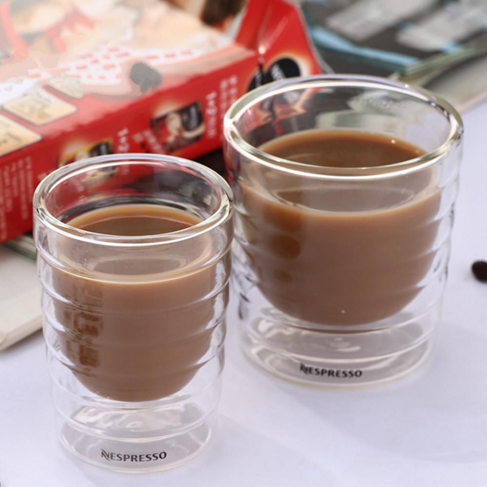 6 unids / lote Resistencia al calor de doble capa Proteína de suero de leche Nespresso Taza de café Espresso Taza de café Vidrio térmico 150ml Los mejores regalos L0309