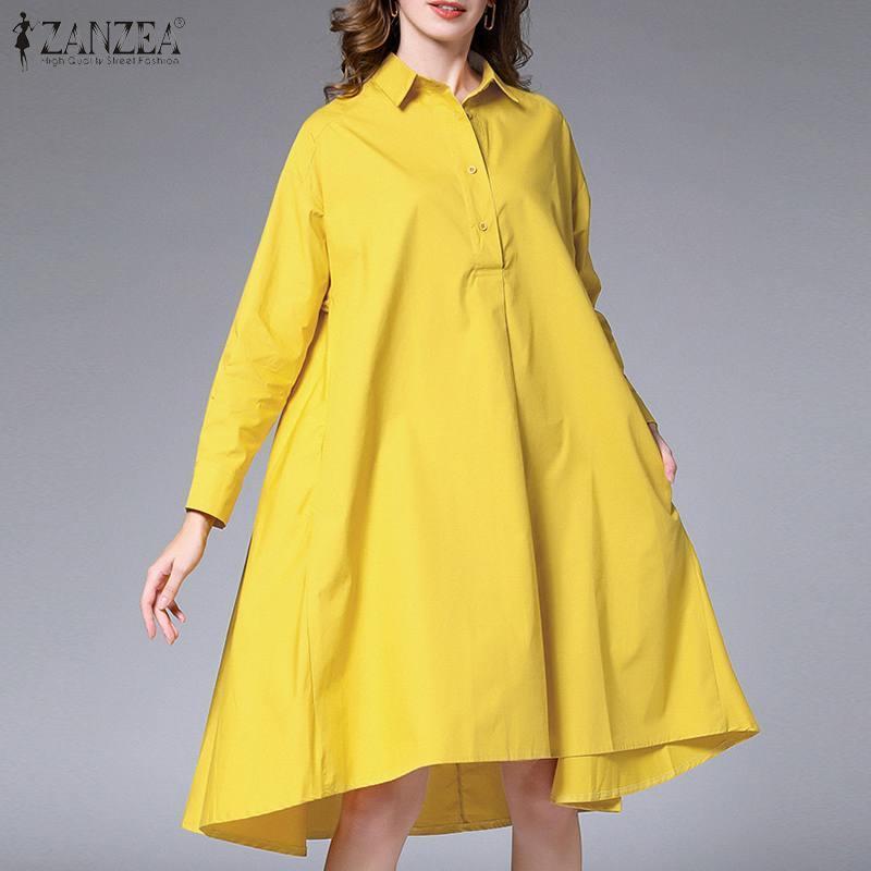 Moda Vestido de camisa sólida Mujeres Primavera Vestidos 2021 Zanzea Casual Manga larga de la rodilla Longitud de la rodilla Vestidos Robe de botón Mujer Tallas grandes
