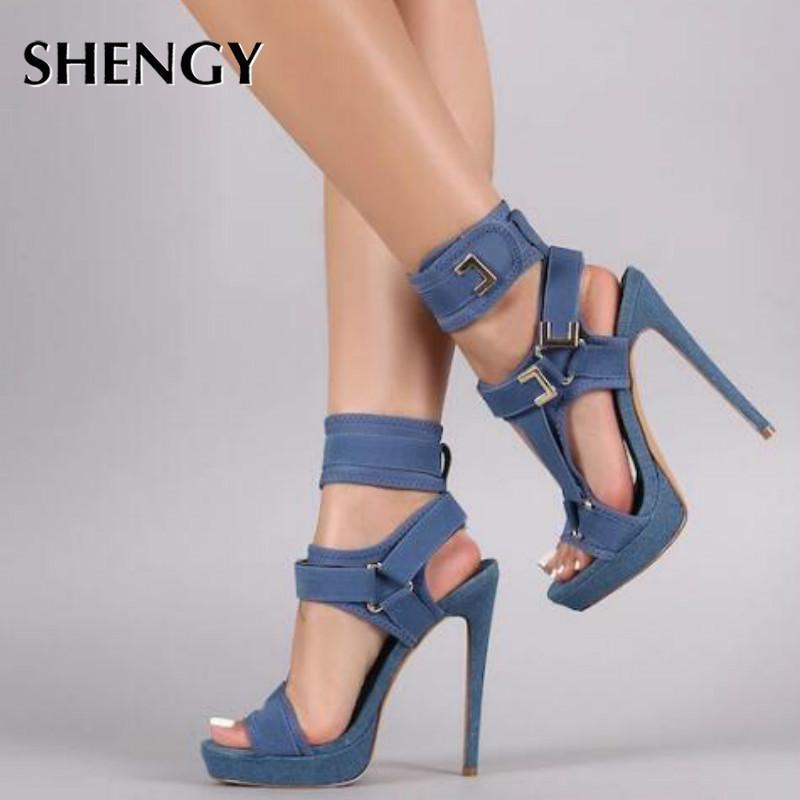 Летние женщины платформы сандалии открытый носок вырезать высокие каблуки обувь крючок петли лодыжки ремешка сексуальная шпилька обувь с пряжкой сандалии 2021