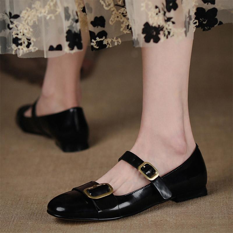 Kadın Mary Janes Ayakkabı Siyah Beyaz Patchwork Lolita Ayakkabı Toka Flats Retro Kızlar Ayakkabı Mujer 2021 İlkbahar Sonbahar 8954N