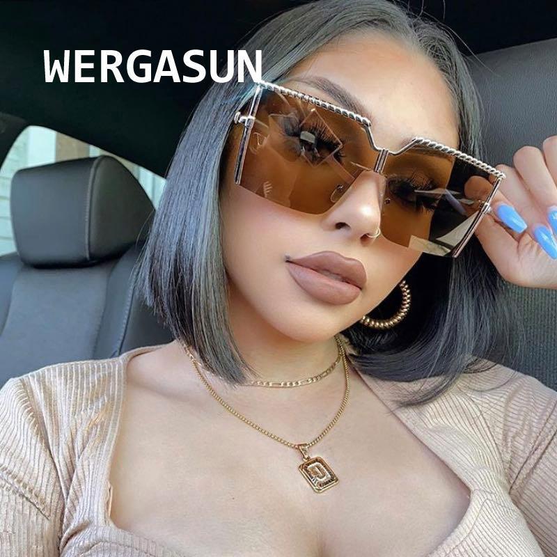 Wergasun 2021 Nouvelle mode Soleil Square surdimensionné Sunglasses Femmes Marque Designer Big Sun Verres Voyage Gradient UV400