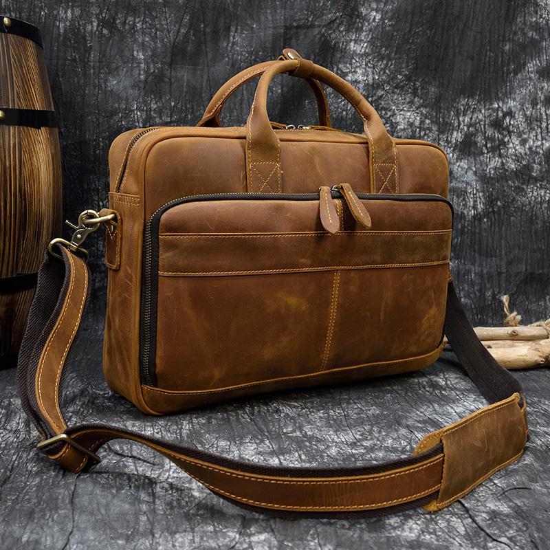 Evrak Çantası Erkekler Vintage İş Çanta erkek Omuz Çantaları Çılgın At Deri Crossbody Laptop