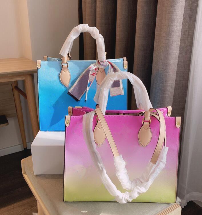 Moda Mejor Calidad Bolsa de Compras Azul Versátil Venta Venta Caliente Venta Dye Classic Brand Cuero Capacidad Grande Capacidad Bolso Bolsas De Tote