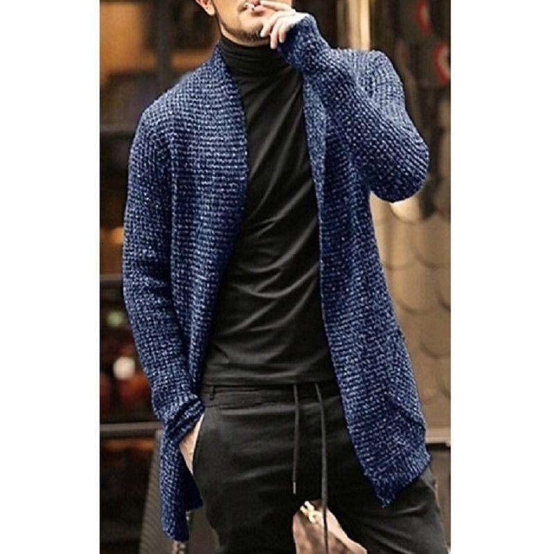 2021 camisas de manga larga Cardigan Ropa de Hombre Hombres Sólido Casual Moda Caliente Invierno Abrir Abrir Shawl Collar de palangre QMPJ
