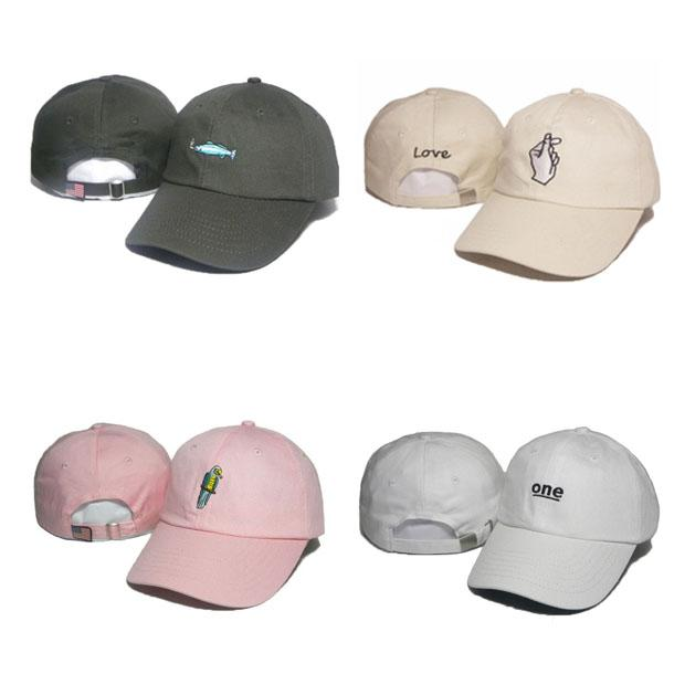 Moda Bordado Peixe Pássaro Strapback Caps Homens Mulheres Chapéus Uma Cinta De Amor Back Hat Snapbacks Esportes Boné Boné Alta Qualidade