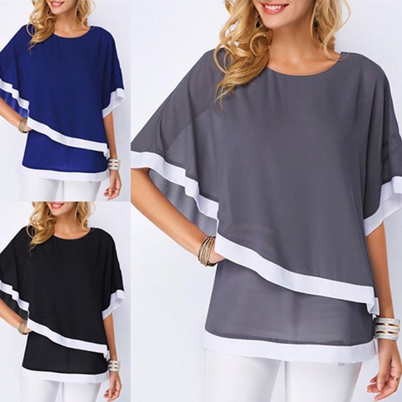 Плюс Размер блузки для женщин 5XL Лоскутное Двухслойные Топы Повседневная Туника Batwing 2021 Осень Большой Размер Шифон Рубашки 210311
