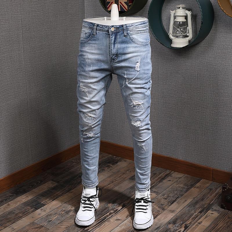 Модная уличная одежда светло-синяя стройная упругая упругие разорванные мужчины джинсовые карандашные брюки уничтожены хип-хоп джинсы Homme