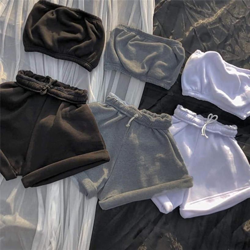 Femmes Sportswear Sexy Coffre Courtiers Shorts en polaire Vêtements occasionnels Plus Taille 2xL 2 pièces Ensembles SweatSuits Chemises de yoga Casual Capris 4157