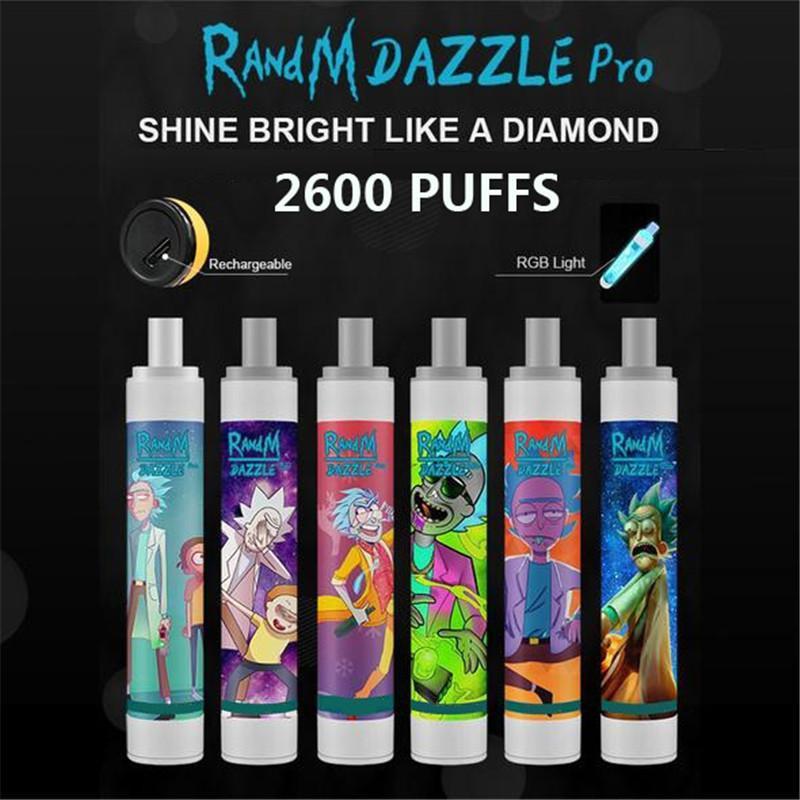 Original Randm Dazzle Pro 2600 sbuffi da 6 ml Vai monouso con LED RGB illumina tutto il tubo