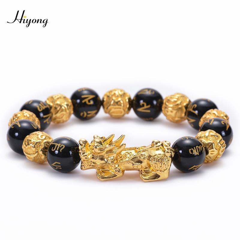 Heißer Verkauf schwarz Obisdian Perlen Stein Armbänder Sechs Wörter Feng Shui Armband Gold Farbe Reichtum Pixiu Armband Frauen Männer Jewlry