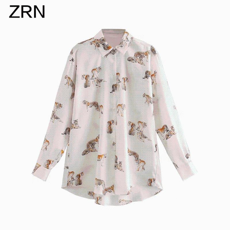 Женские блузки рубашки женские блузки осень 2021 животных напечатаны старинные элегантные атласные текстуры с длинными рукавами женская рубашка свободные шикарные вершины