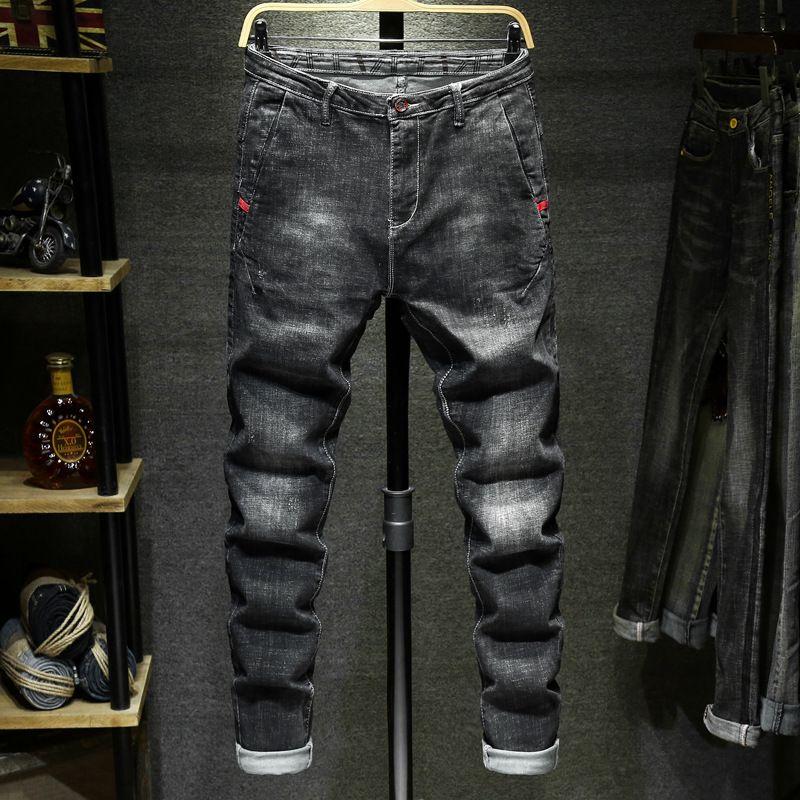 2021 New Autunno e Jeans invernali Brand Brand Brand Gamba bianca Slim Slim Slim Syn Straight Pantaloni da uomo