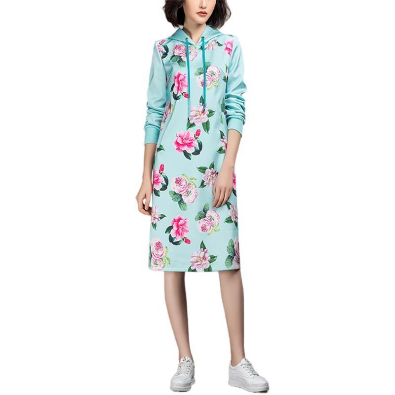 Повседневные платья Досуга Дамы Флористическое Распечатать Ссылка с капюшоном с капюшоном с капюшоном с капюшоном для женщин
