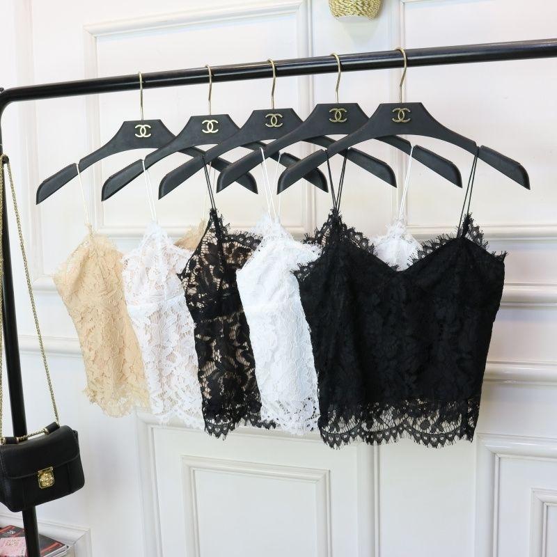 Женщины сексуальные лоскутные кружевные бак топы новая женщина v-образным вырезом спагетти блузка женская базовая короткая рубашка урожай вершины 210316