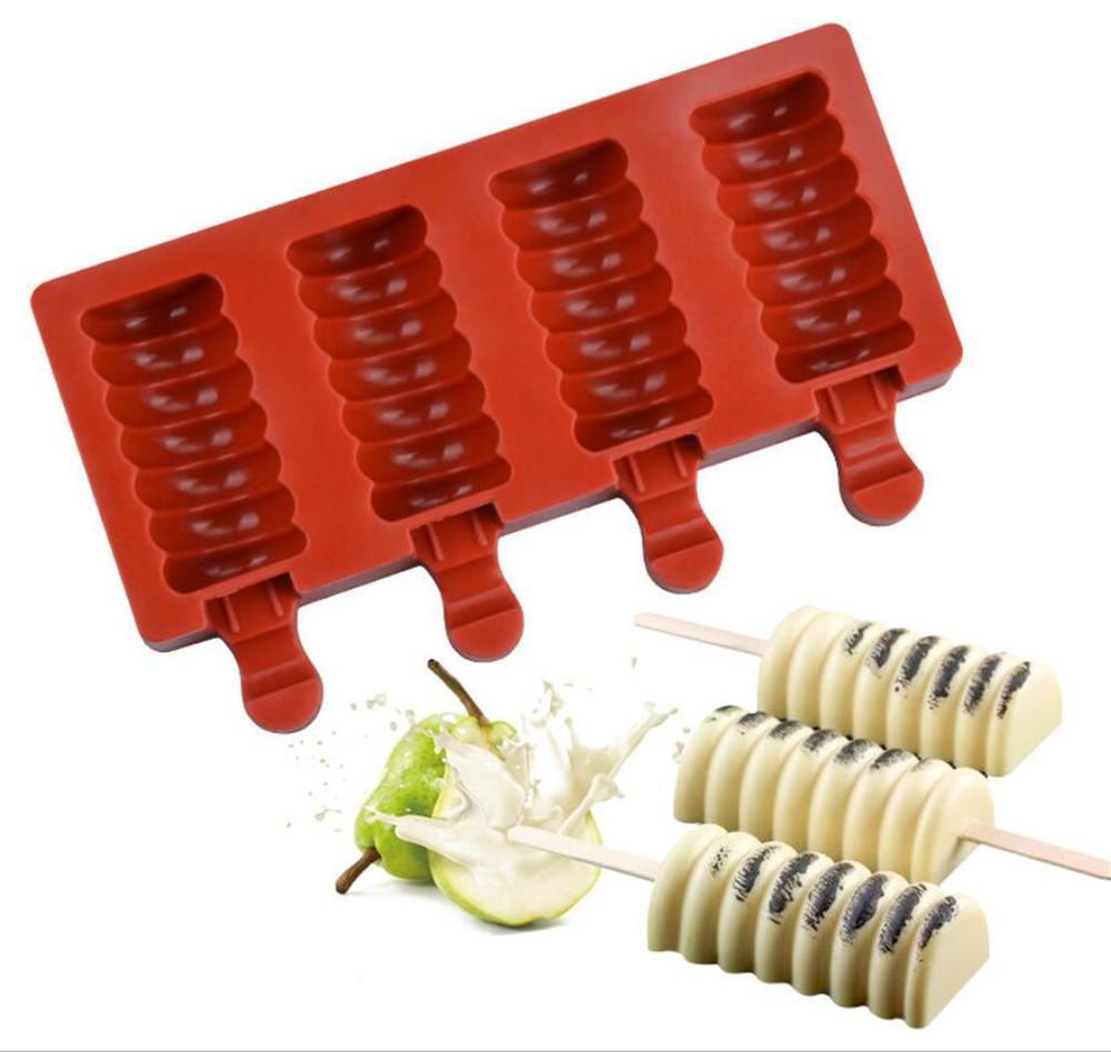 4 Hücre Silikon Dondurulmuş Dondurma Kalıp Suyu Popsicle Maker Çocuk Pop Kalıp Silikon Lolly Tepsi Kalıpları Kek Dekorasyon Pişirme
