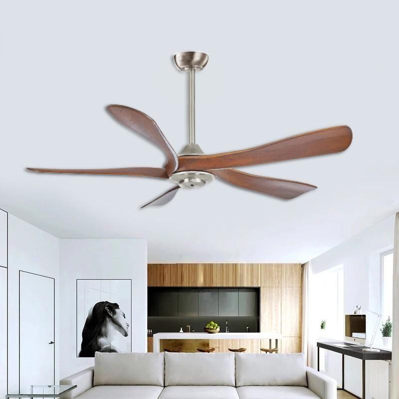 Северный EuroModern 52 дюйма простые твердые деревянные потолочный вентилятор без лампы крыши с дистанционным управлением вентиляцией коричневого для гостиной