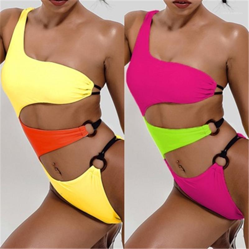 Un hombro sling traje de baño verano femenino nuevo sexy retroceso delgado playa bikini mujer ahueza hacia fuera un traje de baño de una pieza tendencia de moda de moda colores sólidos