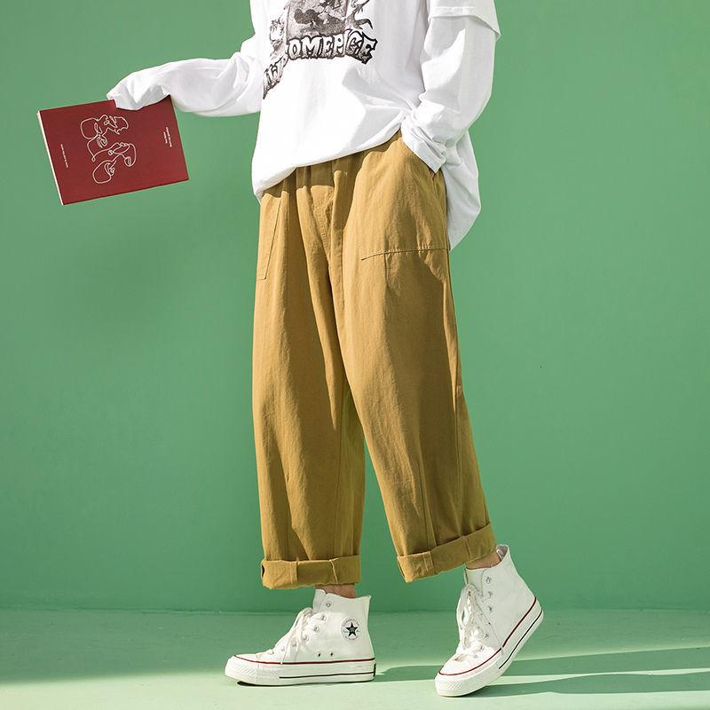 2021 New Men's Solid Cargo Straight Loose Casual Pants Khaki Color Streetwear Military Hip Hop Mens Trousers M-2xl P7ja