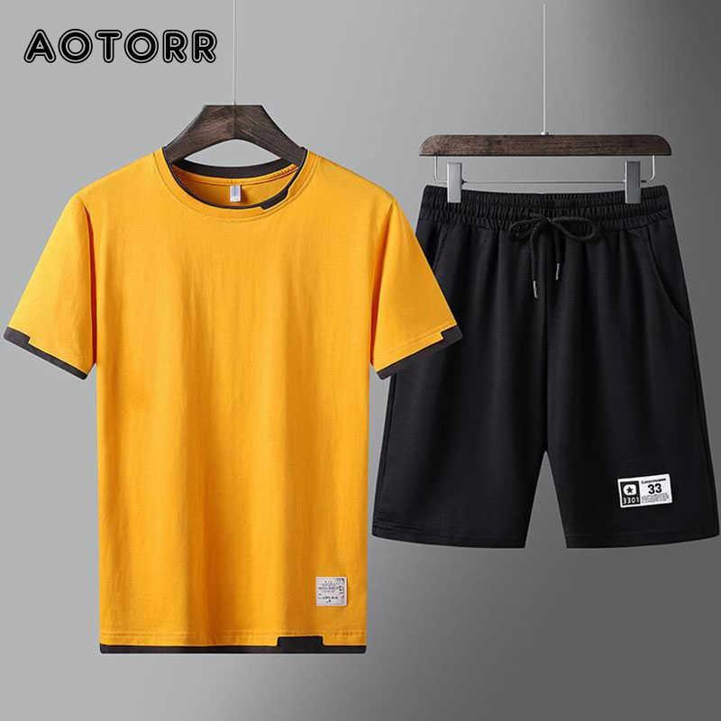 Yaz 2 Parça erkek Seti Spor Giysileri Adam Rahat O-Boyun Harfleri Baskılı T-Shirt + İpli Şort Mans Eşofman Artı Boyutu X0610