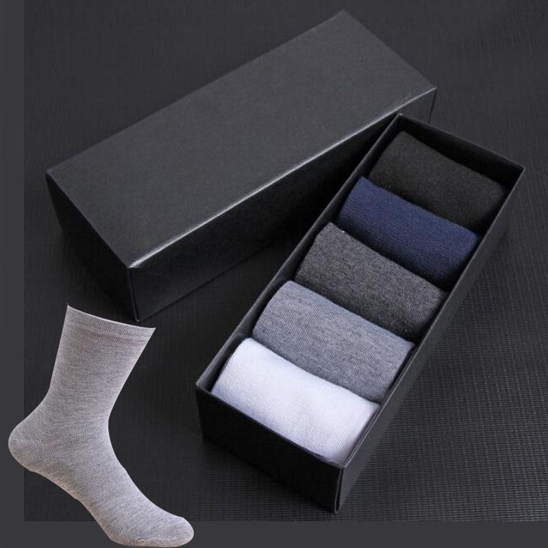 Men's Socks 2021 Cotton Styles 5 Pairs / Lot Black Business Men Breathable Spring Summer For Male US Size(6.5-12)