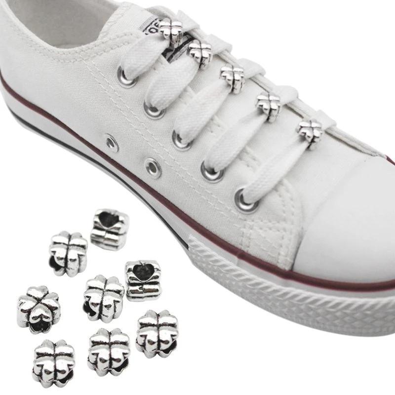 10 قطع الأحذية مشبك الديكور المعادن أربعة أوراق البرسيم diy مقاطع حلقة سحر الحذاء هدايا الهدايا الملحقات لوازم الأربطة