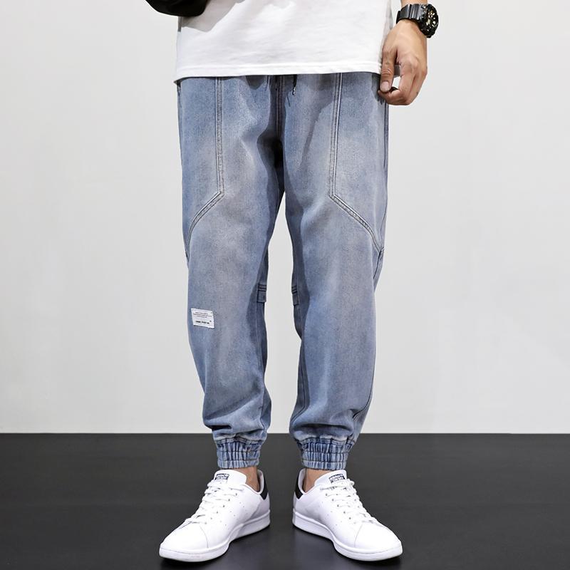 Японский стиль моды мужчины джинсы свободные FIT ретро светло-голубые сплещен дизайнерские харем брюки уличная одежда хип-хоп джинсы мужчины joggers