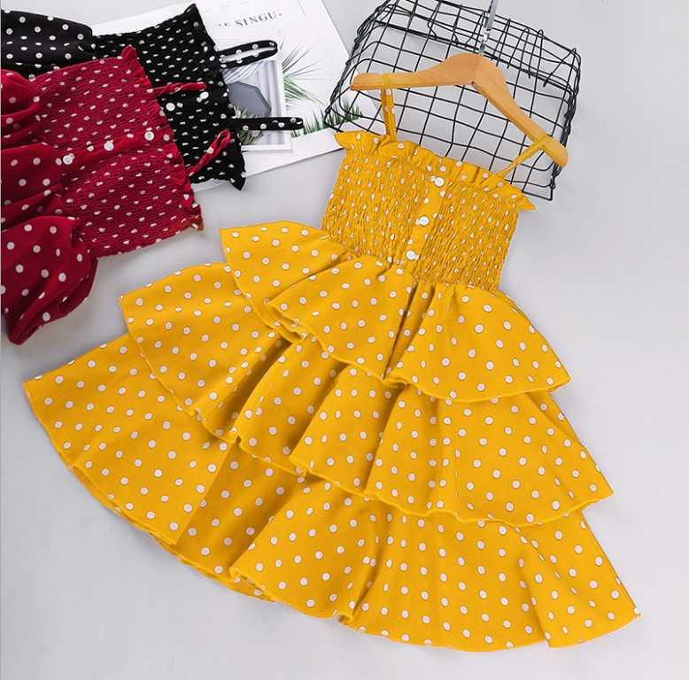 Kızlar Elbiseler Çocuklar Fırfır V Yaka Askı Elbise Çocuk Çiy Omuz Prenses Elbise Çocuklar Ekleme Polka Noktalar Dantel Tül Elbise