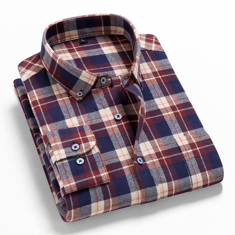 2021 homens flanela de algodão xadrez camisa casual, primavera outono masculino camisa social, regular-cabe camisa de bolinho de manga comprida 210310