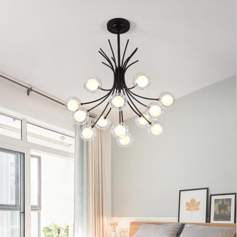 Creative Ball стекло пузырь шарик люстра минималистский творческий волшебный бобовый подвесной лампа ретро железные люстра света AC110-240V