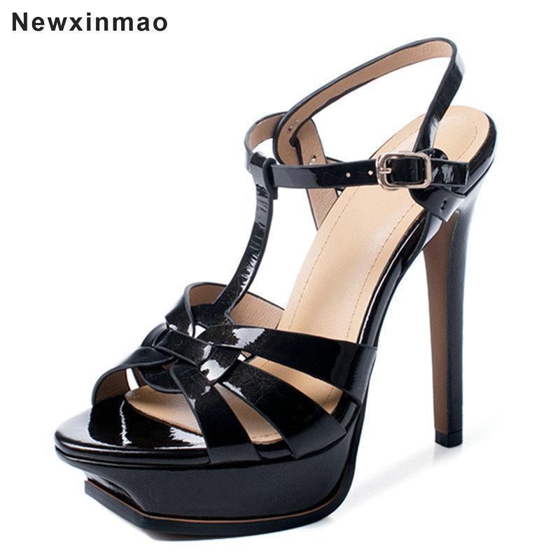 Sandálias Plataforma de Salto Fino MulheresWedding Sapatos Verão 2021 Elegante Genuine Couro Ceia High Senhora Escritório