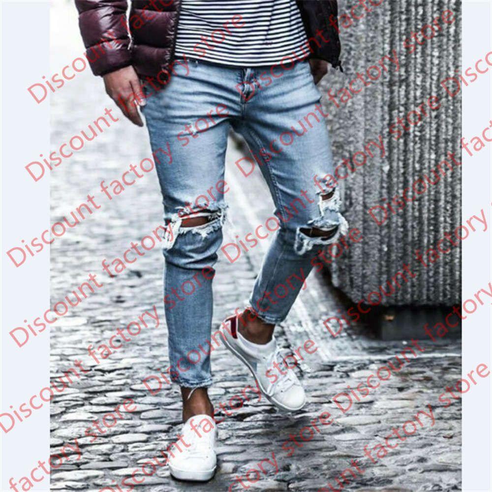 Мужчины Джинские карандашные брюки Урожай дыра Длинные джинсовые брюки повседневные разорванные джинсы хип-хоп уличная одежда мужская одежда 2020 новый