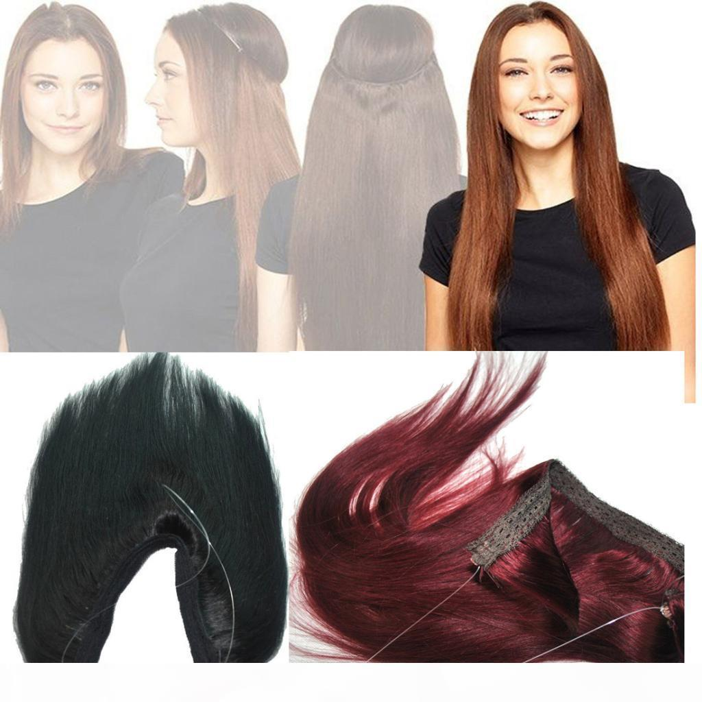 ELIBESS HAIR-Top Quality 14inch-26inch Halo Hair Extension Real Brazilian Virgin Human Hair Fish Line Hair Extensions
