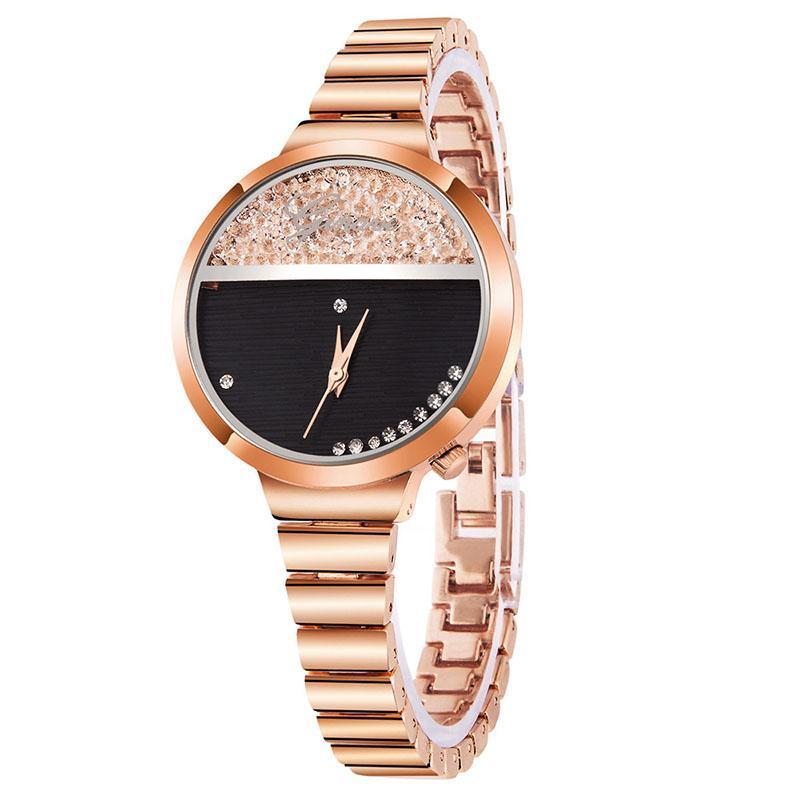 Montre-bracelet Ginave Exquis de Luxe Femme Women's Regard Tempérament Simple Diamond-clouté britannique