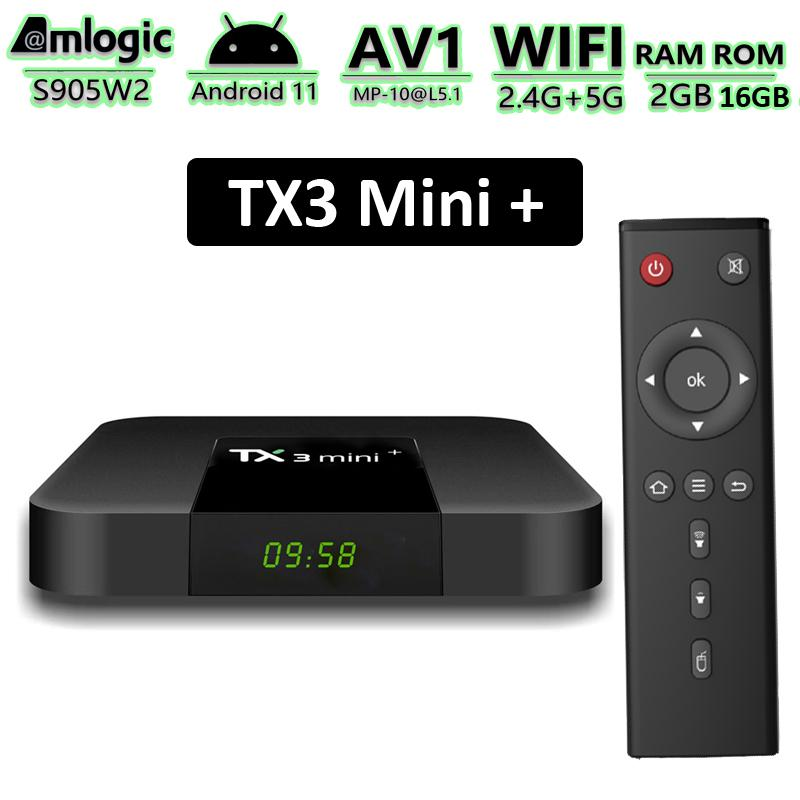 TX3 Mini+ Android TV Box Amlogic S905W2 2GB 16GB Smart TVbox Supports 2.4G/5G Dual Band Wifi BT Media Player with Disply TX3 Mini Plus Android11 2G16G