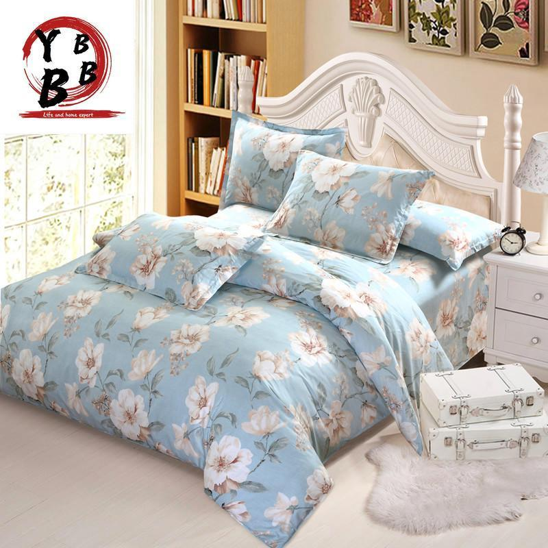 American style Luxury white flower bedding set twin full queen king cotton girl princess wed home textile bedspread quilt cover