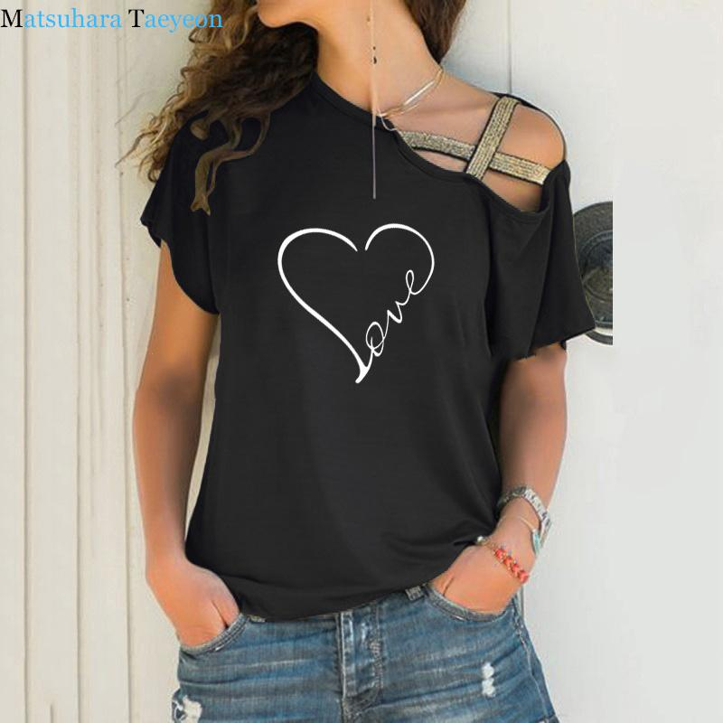 Yeni Aşk Kalp Baskı T Gömlek Kadın T-shirt Düzensiz Kısa Kollu Yaz Tshirt Tops Komik T Shirt Artı Boyutu C0220