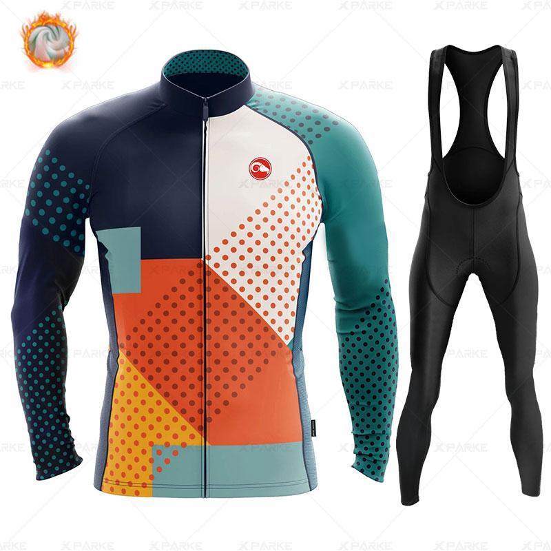 레이싱 세트 겨울 열 양털 세트 사이클링 옷 남성 저지 정장 스포츠 타기 자전거 MTB 의류 턱받이 바지 따뜻한 Ropa Ciclismo
