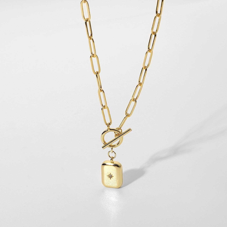 Nova chegada 14k banhado a ouro jóias retangular forma zircon estrela power pingente de ot fivela colar para mulheres