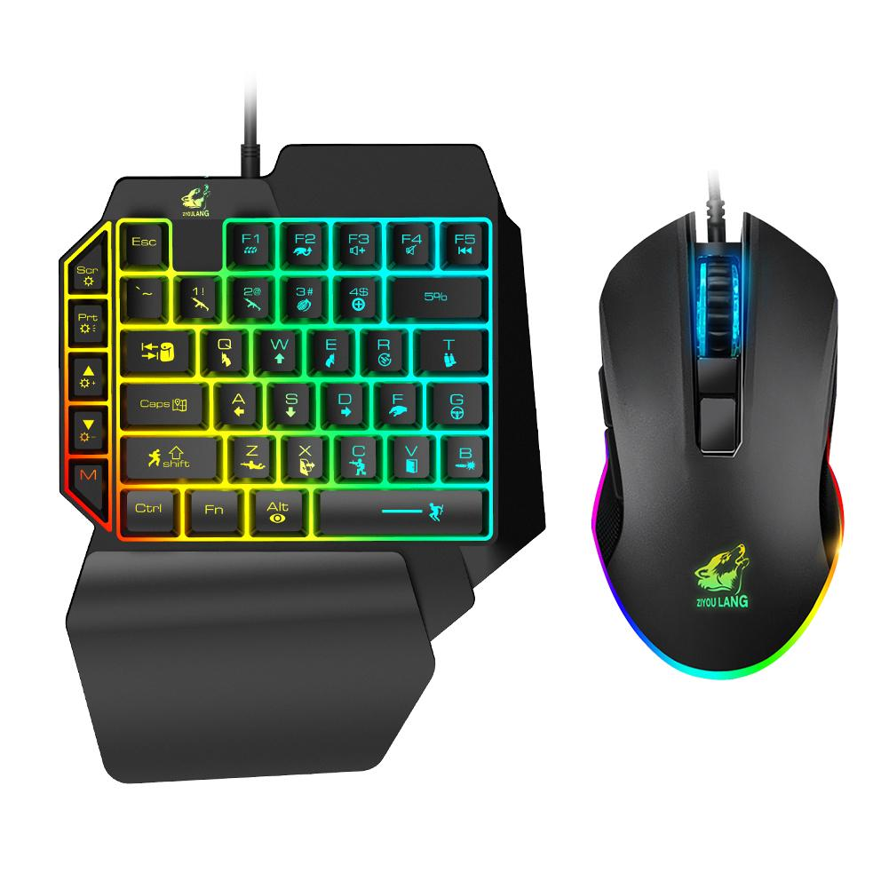 T1 Wired Borse Gaming Keyboard Mouse Mouse Combo per Pubg PC Gamer Combo Set Ergonomic Design per PUBG PC