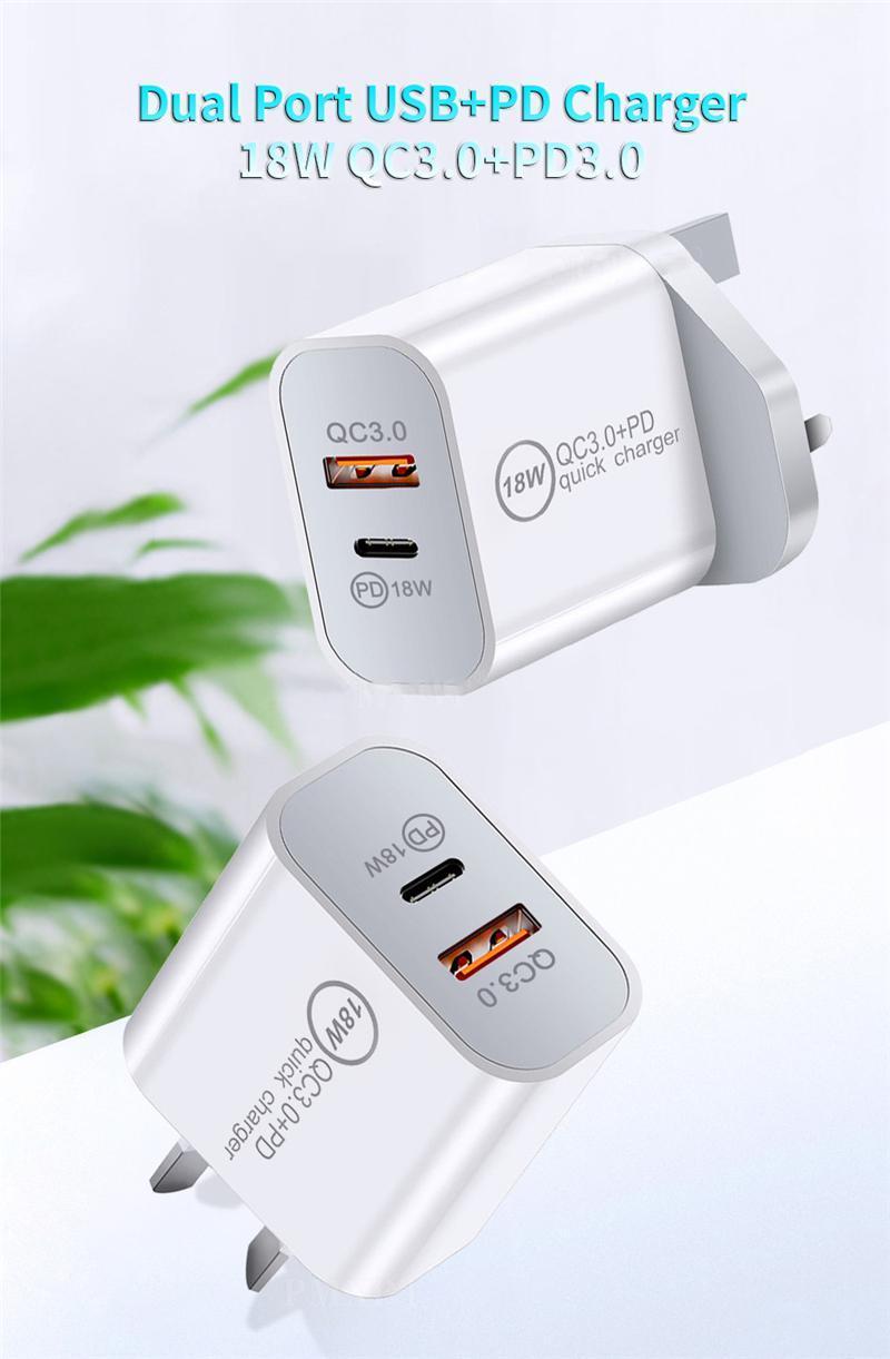 شاحن سريع PD 18W 20W مع نوع C و Port USB QC 3.0 لفون Samsung