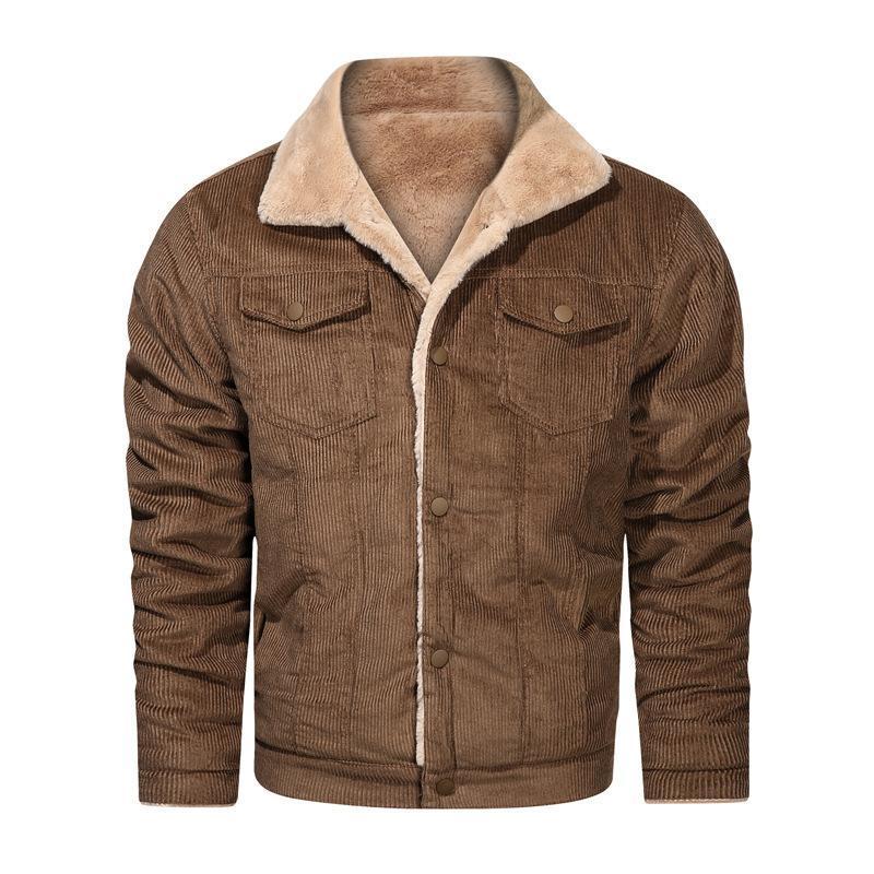 Giacche da uomo Giacche invernali Cappotti in velluto a coste da uomo Big Size Allentato Plus Velvet Cappotto in cotone Giacca in cotone Maschio Fleece Streetwear