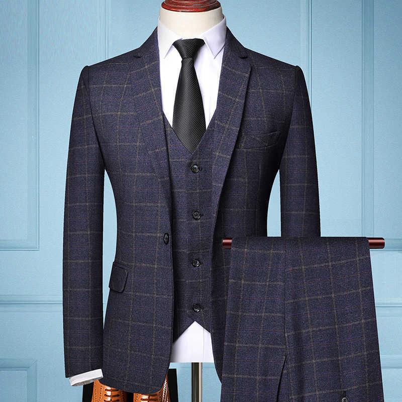 Erkek 3 Parça Moda Takım Elbise Bahar Sonbahar Ekose Slim Fit Iş Resmi Gündelik Çek Suits Ofis İş Parti Balo Düğün Damat X0909