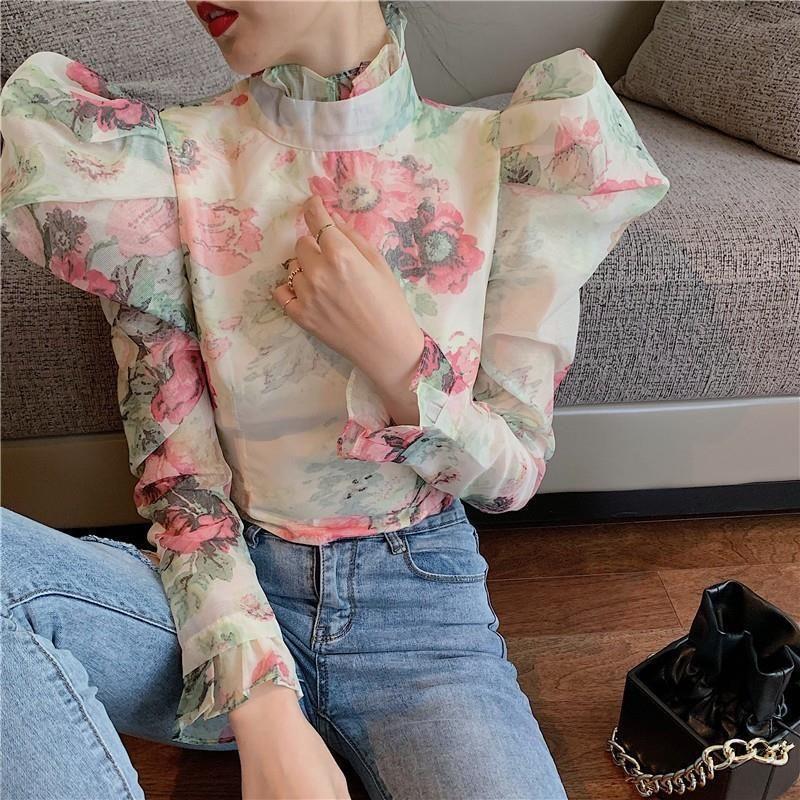 Mujeres elegante casual volante manga larga blusas para mujer tortuga de tortuga de tortuga de manga larga túnica de manga larga camisas de moda ropa de moda