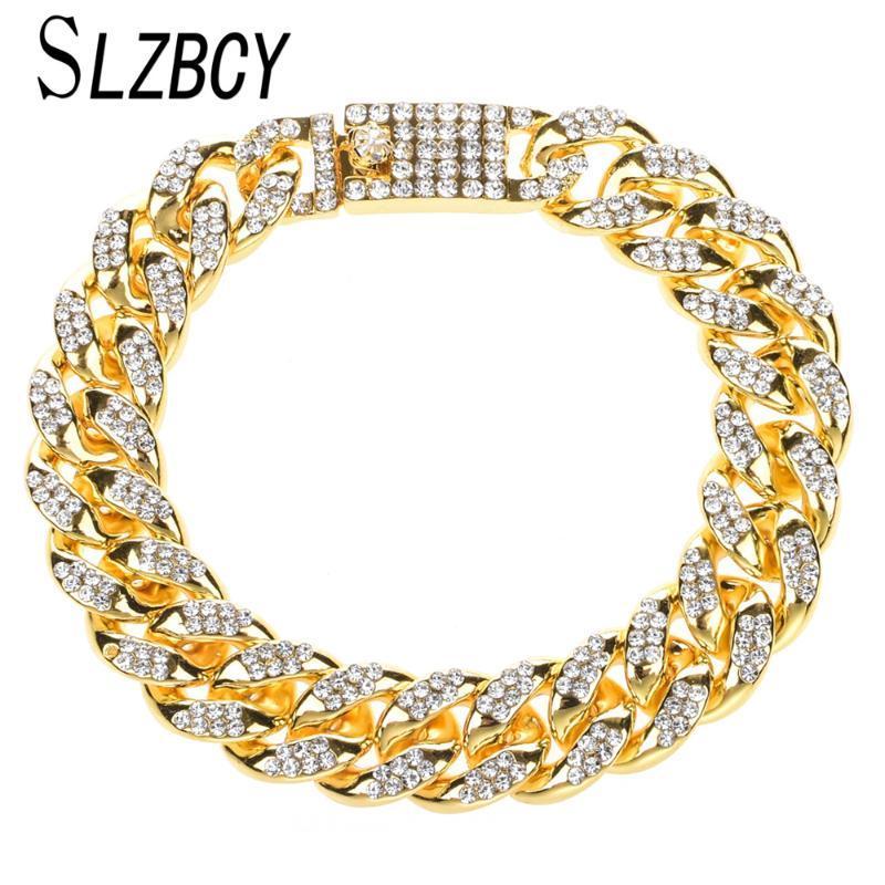 Lien, chaîne HiPhop Gold Silver Color Link Link Bracelet pour hommes Femmes Strass brillant Bracelets Bracelets Bangles Fashion Party Bijoux