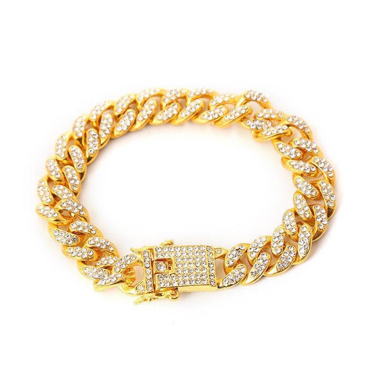 الهيب هوب الشباب ملهى ليلي ذكر بارد سوار سوار مجوهرات كامل الماس الكوبي سوار الهيب هوب الرجال الأزياء مجموعة الماس والمجوهرات عرض 12 ملليمتر