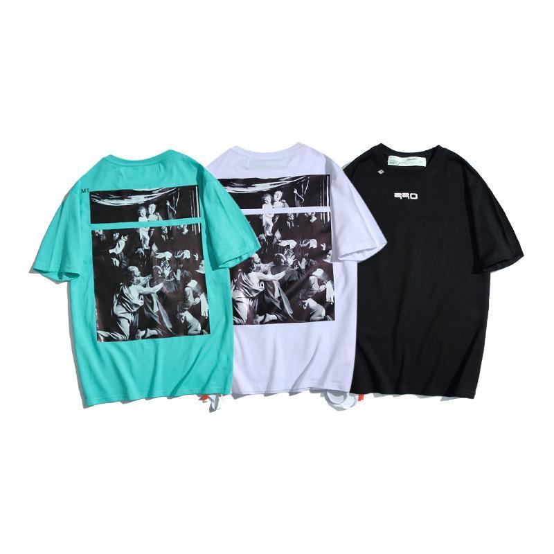 Chao Brand Off Style White Madonna Jesus Verzögerung Gürtel Arrstyle Kurzarm T-Shirt für Männer und Frauen
