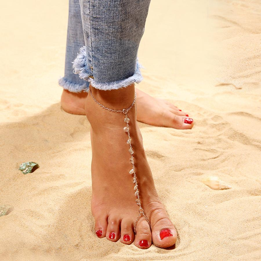 Новая простая и универсальная любовь Zircon ножной цепи летний пляжный сериал ноги орнаменты