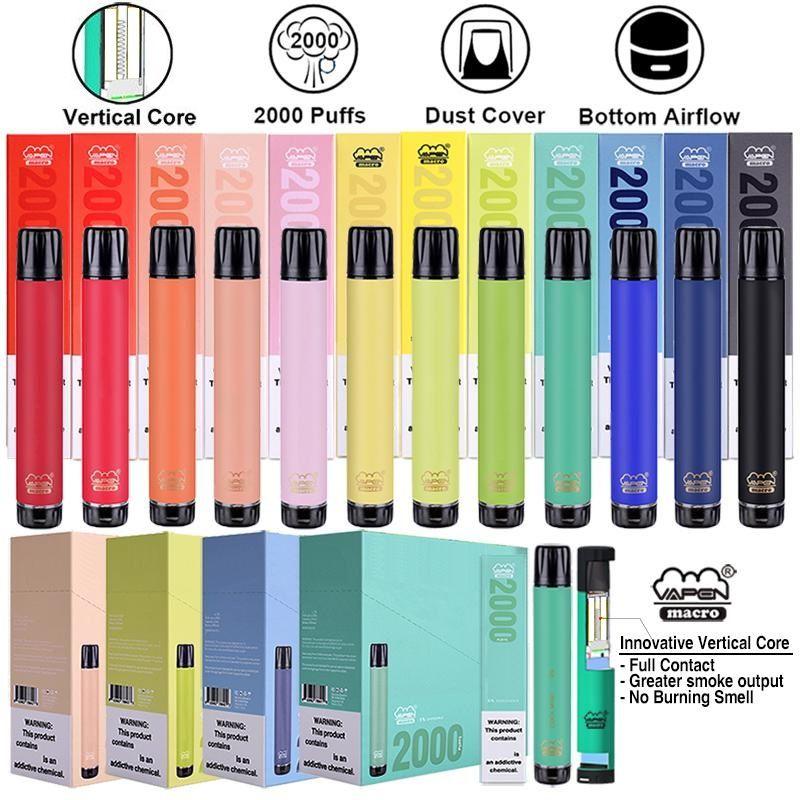 Authentisches Vaps-Makro-Einweg-Pod-Gerät Bottom-Luftstrom 2000 Puffs 6ml Vape-Stift-Devard-Dampf-Stangen-Stick für Flex max