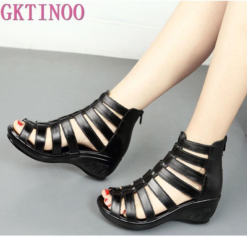 GKTINOO 2021 Yaz Hakiki Deri Gladyatör Sandalet Kadınlar 5.5 cm Yüksek Topuklu Klasik Siyah Peep Toe Hollow Bayanlar Sandalet Takozlar 210302